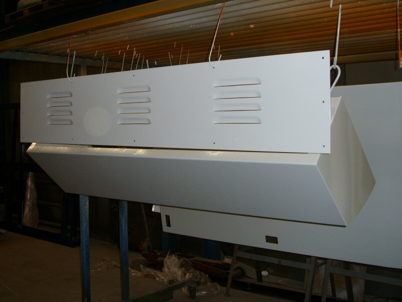Photo - Example of powder coating of vented cover panels for Bradshaw Sheet Metal of Bolton